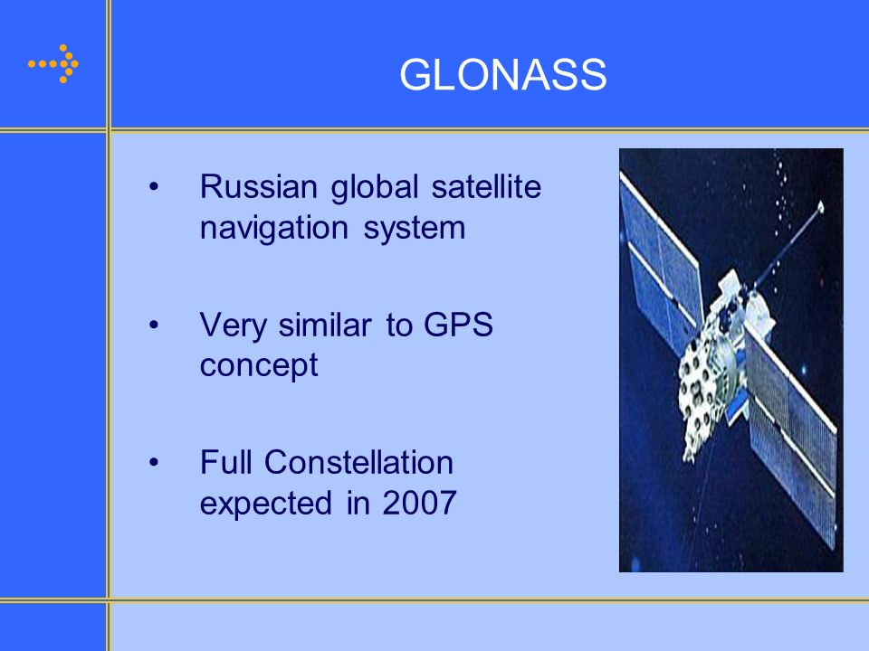 GLONASS Current Status GLONASS programme to continue Replenishment of satellites is underway Future of the system is assured for military and civilian purposes