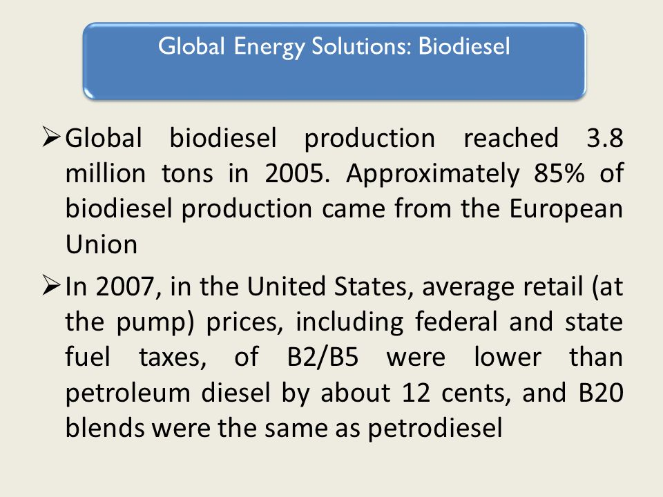 Global biodiesel production reached 3.8 million tons in 2005.