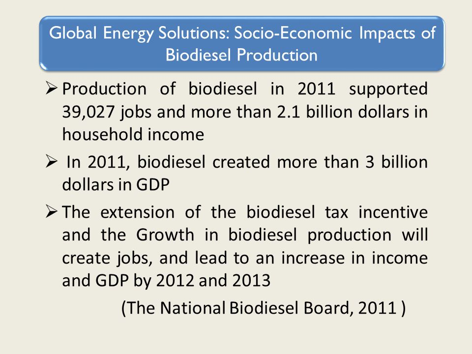 Production of biodiesel in 2011 supported 39,027 jobs and more than 2.1 billion dollars in household income In 2011, biodiesel created more than 3 billion dollars in GDP The extension of the biodiesel tax incentive and the Growth in biodiesel production will create jobs, and lead to an increase in income and GDP by 2012 and 2013 (The National Biodiesel Board, 2011 ) Global Energy Solutions: Socio-Economic Impacts of Biodiesel Production