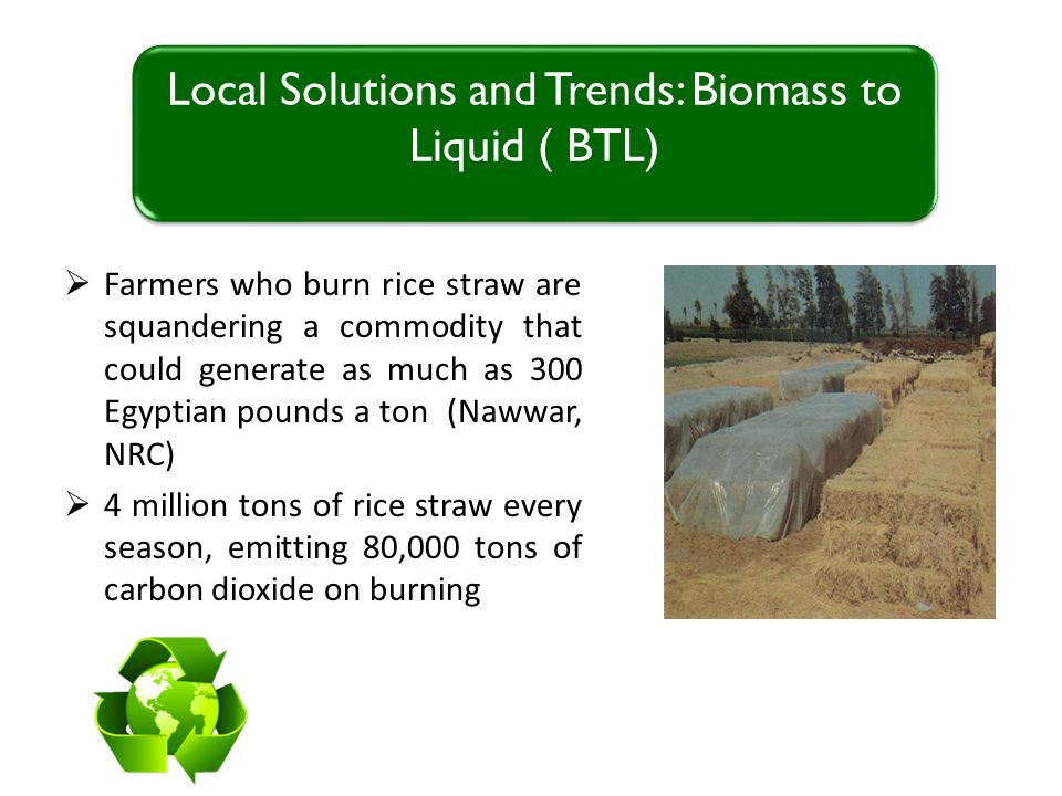 Farmers who burn rice straw are squandering a commodity that could generate as much as 300 Egyptian pounds a ton (Nawwar, NRC) 4 million tons of rice straw every season, emitting 80,000 tons of carbon dioxide on burning Local Solutions and Trends: Biomass to Liquid ( BTL)