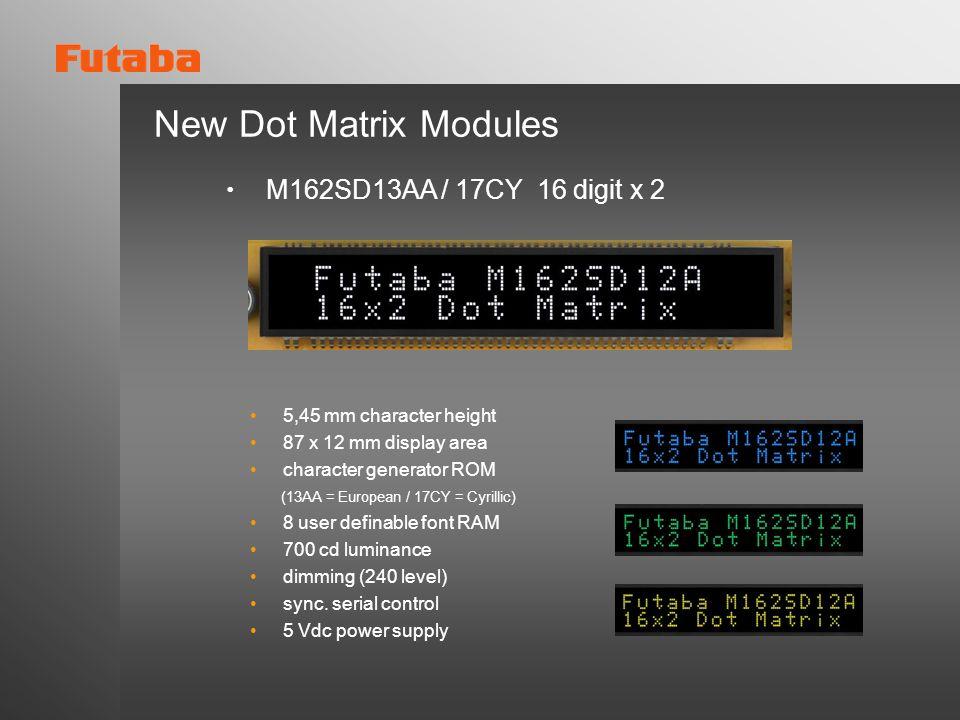 5,45 mm character height 87 x 12 mm display area character generator ROM (13AA = European / 17CY = Cyrillic) 8 user definable font RAM 700 cd luminanc