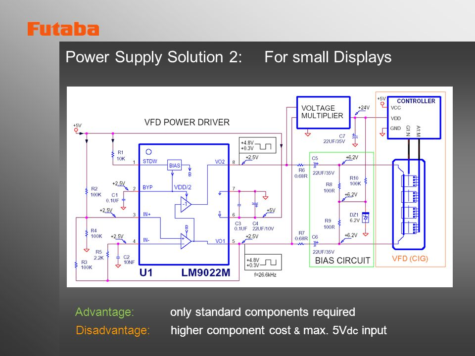 Power Supply Solution 2: For small Displays Advantage: only standard components required Disadvantage: higher component cost & max. 5V dc input