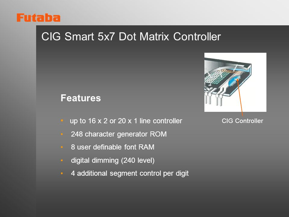 CIG Smart 5x7 Dot Matrix Controller Features up to 16 x 2 or 20 x 1 line controller 248 character generator ROM 8 user definable font RAM digital dimm