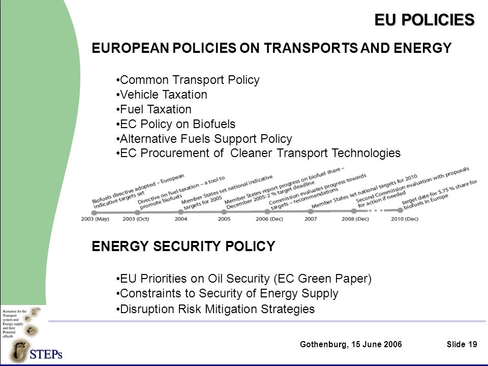 Gothenburg, 15 June 2006Slide 19 EU POLICIES EUROPEAN POLICIES ON TRANSPORTS AND ENERGY Common Transport Policy Vehicle Taxation Fuel Taxation EC Policy on Biofuels Alternative Fuels Support Policy EC Procurement of Cleaner Transport Technologies ENERGY SECURITY POLICY EU Priorities on Oil Security (EC Green Paper) Constraints to Security of Energy Supply Disruption Risk Mitigation Strategies