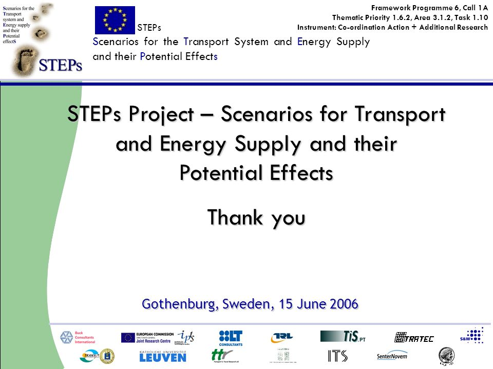 STEPs Scenarios for the Transport System and Energy Supply and their Potential Effects Framework Programme 6, Call 1A Thematic Priority 1.6.2, Area 3.1.2, Task 1.10 Instrument: Co-ordination Action + Additional Research Gothenburg, Sweden, 15 June 2006 STEPs Project – Scenarios for Transport and Energy Supply and their Potential Effects Thank you