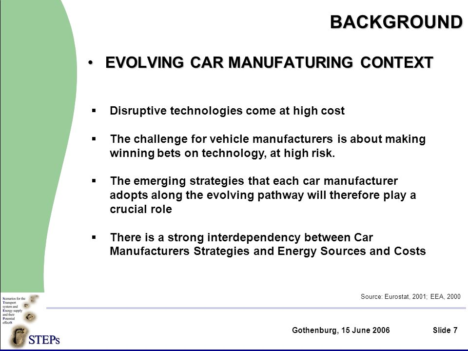 Gothenburg, 15 June 2006Slide 7BACKGROUND EVOLVING CAR MANUFATURING CONTEXTEVOLVING CAR MANUFATURING CONTEXT Source: Eurostat, 2001; EEA, 2000 Disruptive technologies come at high cost The challenge for vehicle manufacturers is about making winning bets on technology, at high risk.
