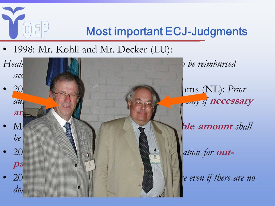 Most important ECJ-Judgments 1998: Mr. Kohll and Mr. Decker (LU): Health care provided in another Member State is to be reimbursed according domestic