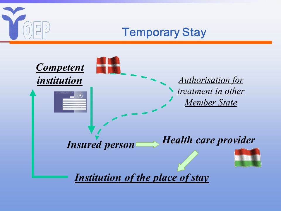 Temporary Stay Competent institution Insured person Health care provider Institution of the place of stay Authorisation for treatment in other Member