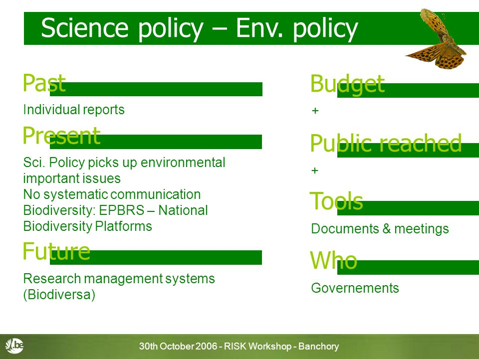 30th October 2006 - RISK Workshop - Banchory Science policy – Env. policy + Budget Past + Public reached Documents & meetings Tools Governements Who P