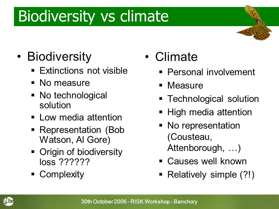 30th October 2006 - RISK Workshop - Banchory Biodiversity vs climate Biodiversity Extinctions not visible No measure No technological solution Low med