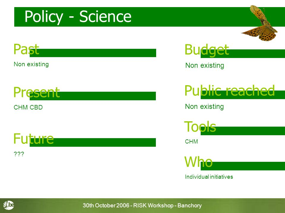 30th October 2006 - RISK Workshop - Banchory CHM CBD Policy - Science Non existing Budget Past Non existing Public reached CHM Tools Individual initia