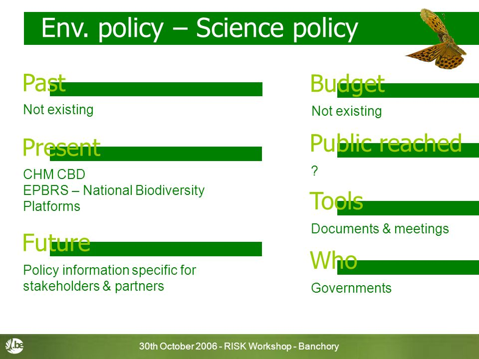 30th October 2006 - RISK Workshop - Banchory Env. policy – Science policy Not existing Budget Past ? Public reached Documents & meetings Tools Governm