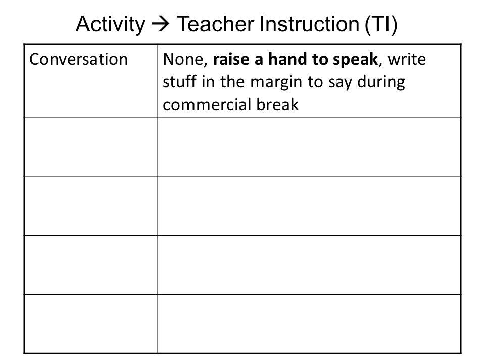 ConversationNone, raise a hand to speak, write stuff in the margin to say during commercial break Activity Teacher Instruction (TI)