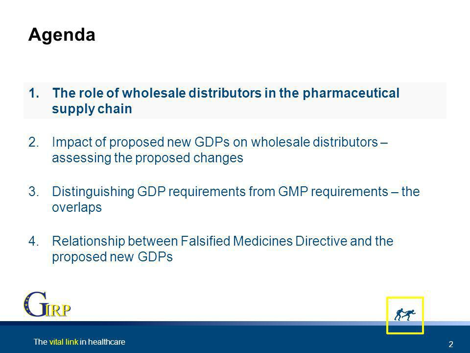 The vital link in healthcare 2 Agenda 4.Relationship between Falsified Medicines Directive and the proposed new GDPs 3.Distinguishing GDP requirements