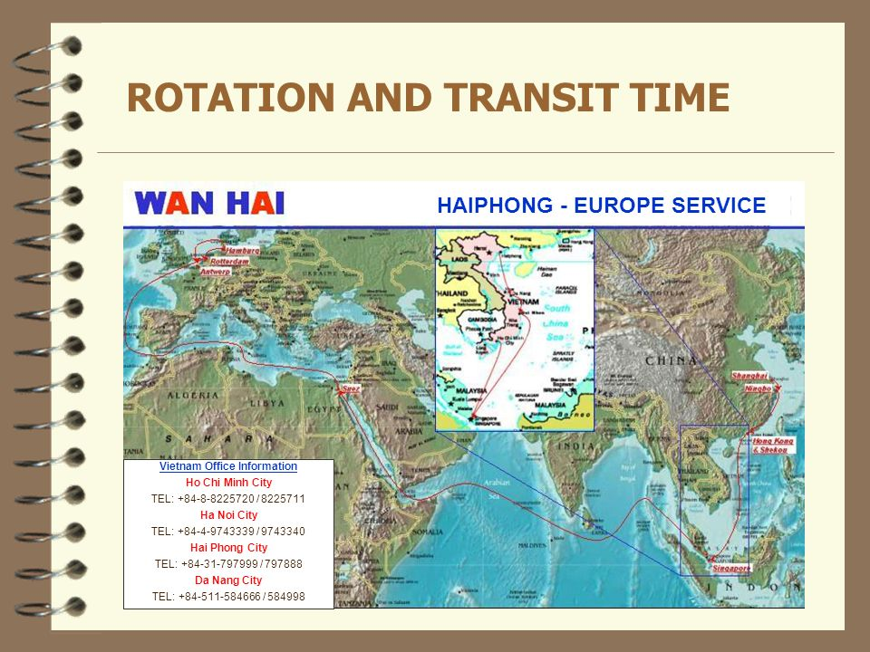 ROTATION AND TRANSIT TIME HAIPHONG - EUROPE SERVICE Vietnam Office Information Ho Chi Minh City TEL: +84-8-8225720 / 8225711 Ha Noi City TEL: +84-4-97
