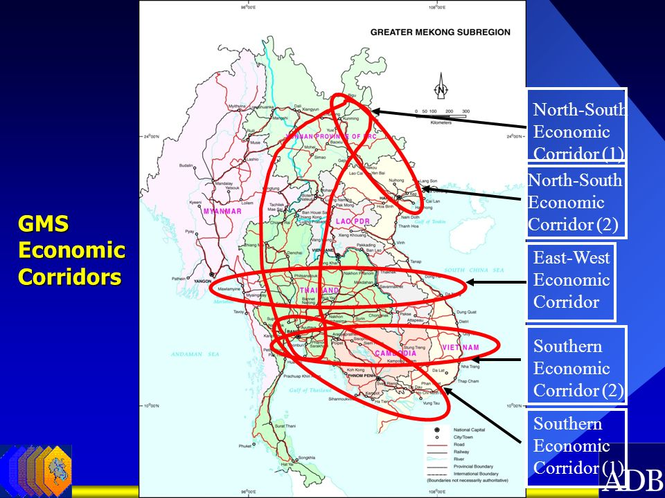 North-South Economic Corridor (1) East-West Economic Corridor Southern Economic Corridor (1) GMS Economic Corridors North-South Economic Corridor (2)