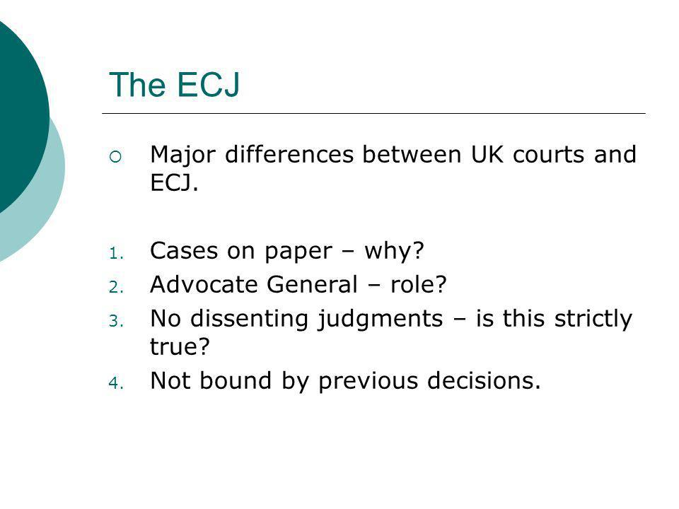The ECJ Major differences between UK courts and ECJ. 1. Cases on paper – why? 2. Advocate General – role? 3. No dissenting judgments – is this strictl