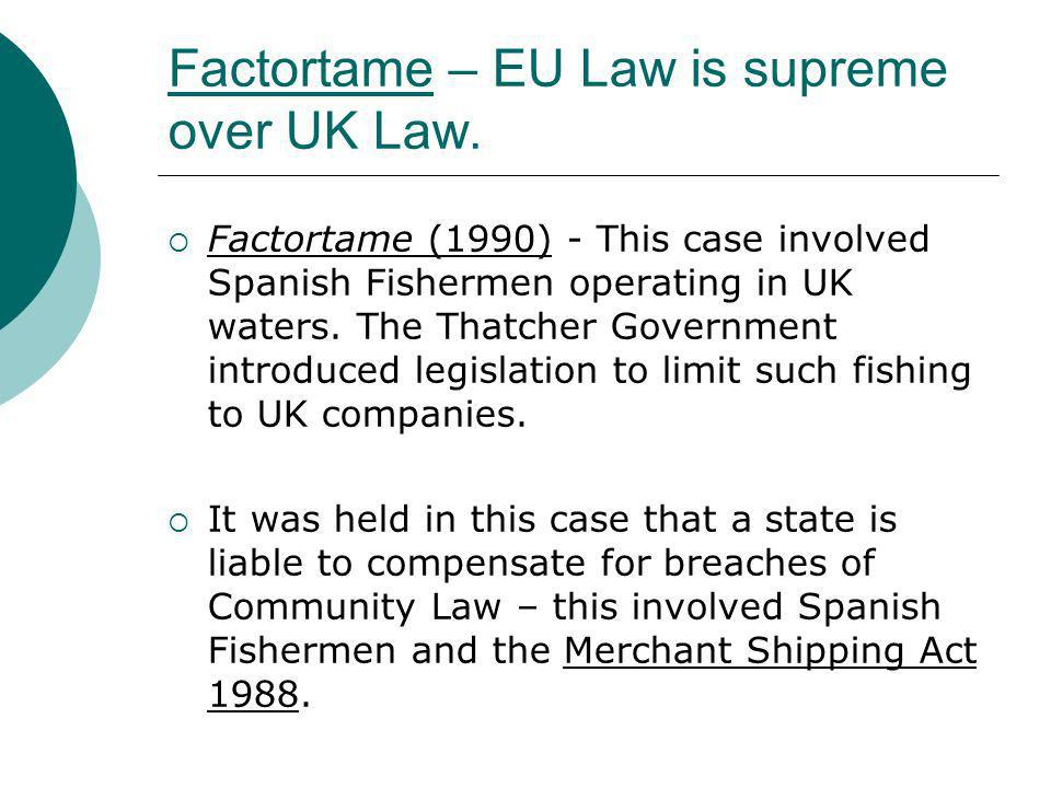 Factortame – EU Law is supreme over UK Law. Factortame (1990) - This case involved Spanish Fishermen operating in UK waters. The Thatcher Government i