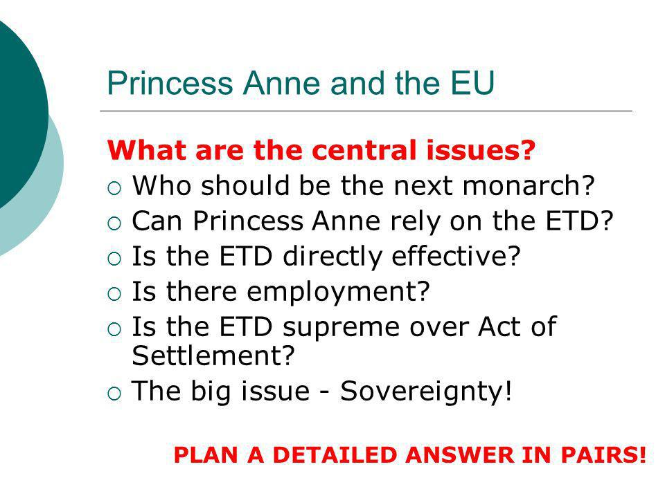 Princess Anne and the EU What are the central issues? Who should be the next monarch? Can Princess Anne rely on the ETD? Is the ETD directly effective