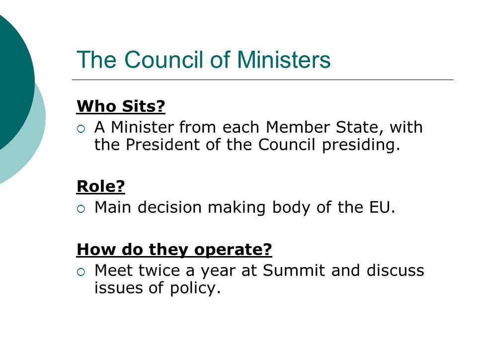 The Council of Ministers Who Sits? A Minister from each Member State, with the President of the Council presiding. Role? Main decision making body of