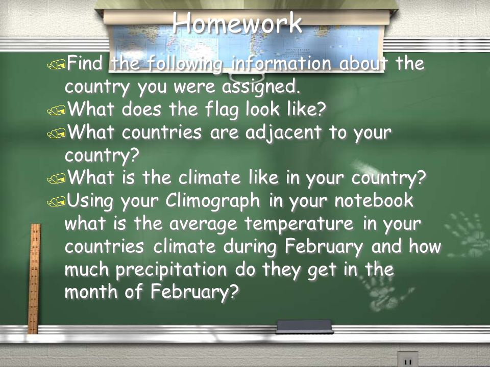 Homework / Find the following information about the country you were assigned.