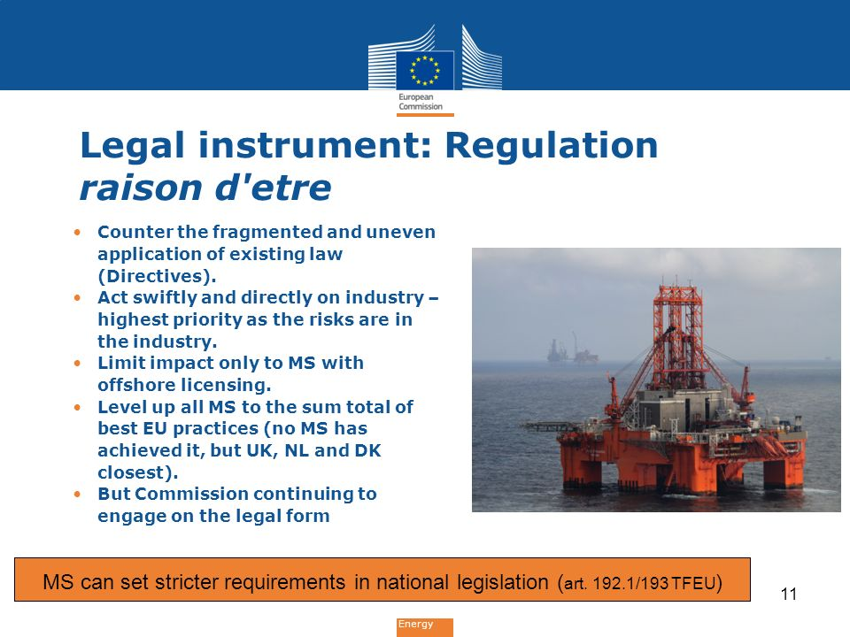 Energy Legal instrument: Regulation raison d'etre Counter the fragmented and uneven application of existing law (Directives). Act swiftly and directly