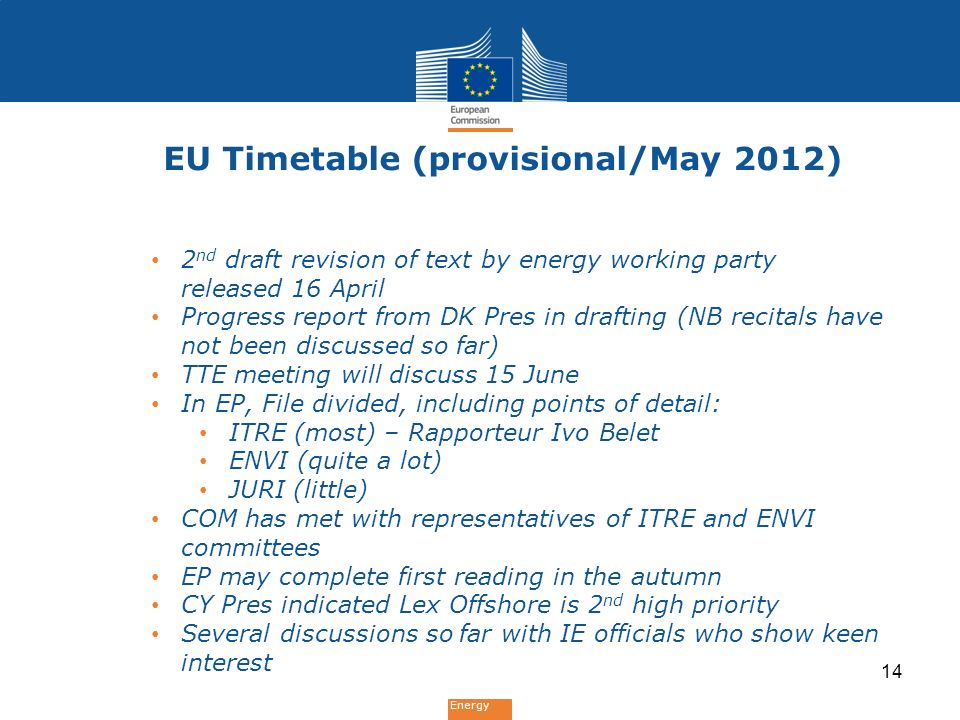 Energy EU Timetable (provisional/May 2012) 2 nd draft revision of text by energy working party released 16 April Progress report from DK Pres in drafting (NB recitals have not been discussed so far) TTE meeting will discuss 15 June In EP, File divided, including points of detail: ITRE (most) – Rapporteur Ivo Belet ENVI (quite a lot) JURI (little) COM has met with representatives of ITRE and ENVI committees EP may complete first reading in the autumn CY Pres indicated Lex Offshore is 2 nd high priority Several discussions so far with IE officials who show keen interest 14