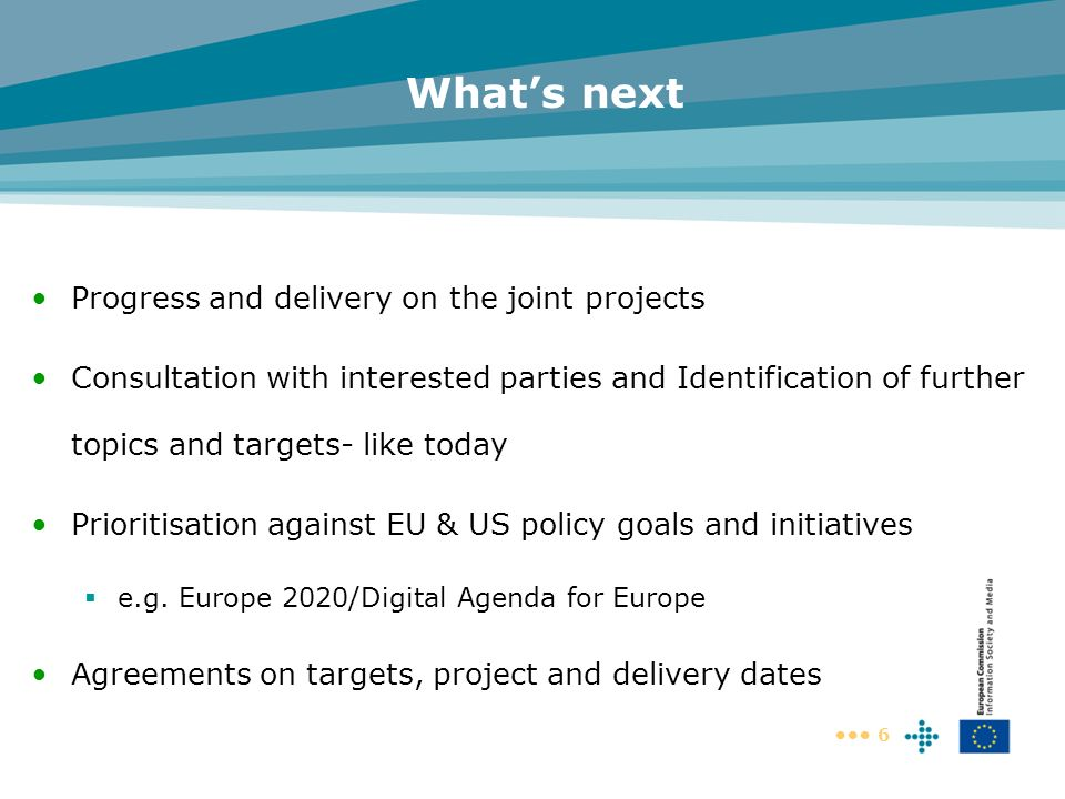6 Whats next Progress and delivery on the joint projects Consultation with interested parties and Identification of further topics and targets- like t
