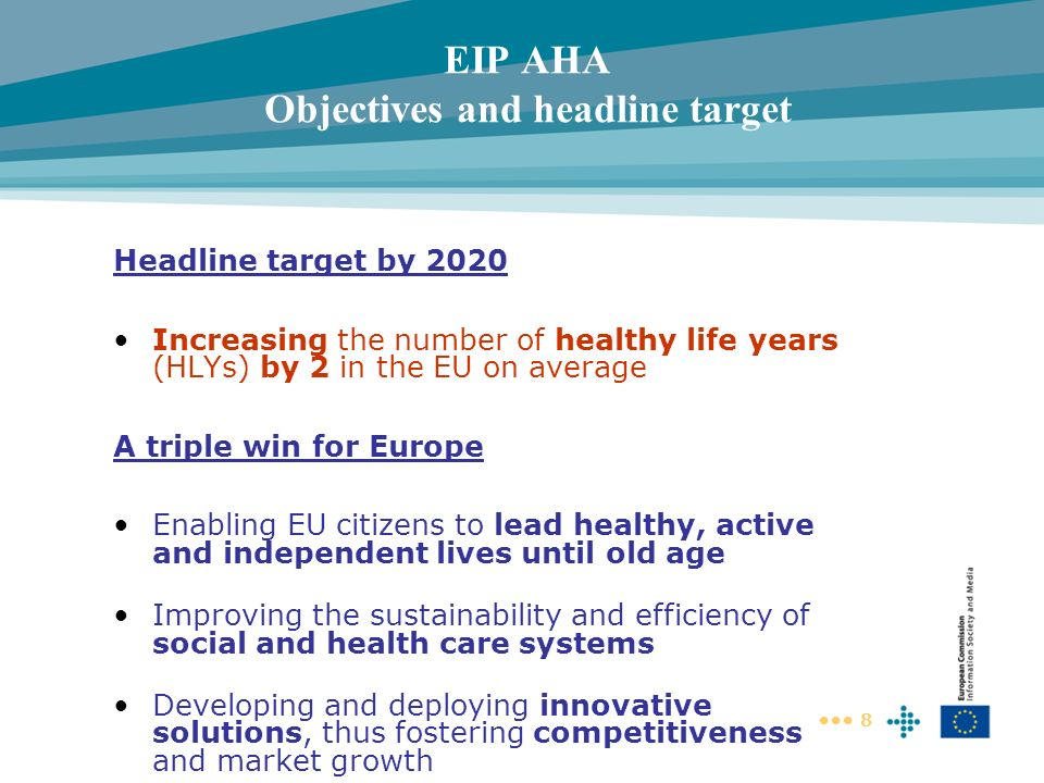 8 EIP AHA Objectives and headline target Headline target by 2020 Increasing the number of healthy life years (HLYs) by 2 in the EU on average A triple