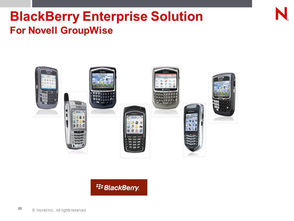© Novell Inc. All rights reserved 20 BlackBerry Enterprise Solution For Novell GroupWise