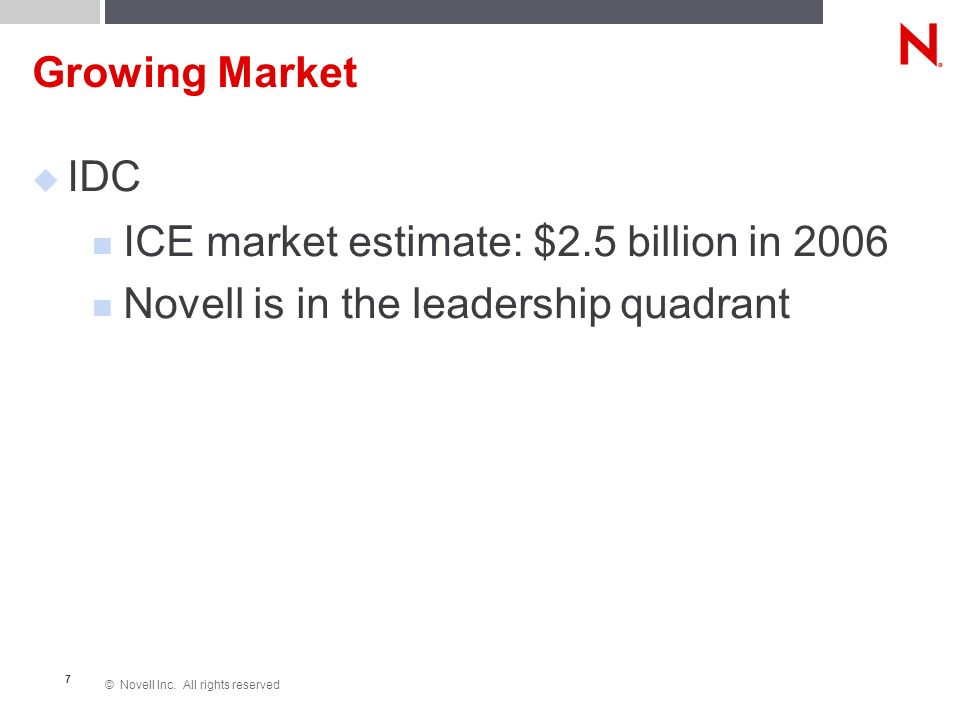 © Novell Inc. All rights reserved 7 Growing Market IDC ICE market estimate: $2.5 billion in 2006 Novell is in the leadership quadrant