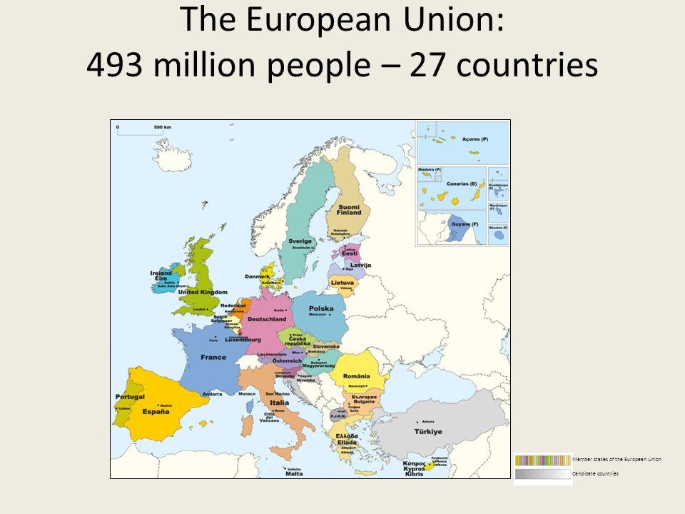The European Union: 493 million people – 27 countries Member states of the European Union Candidate countries