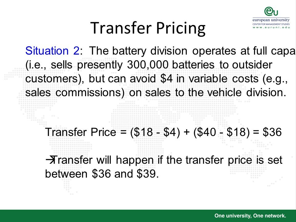 Transfer Pricing Situation 2: The battery division operates at full capacity (i.e., sells presently 300,000 batteries to outsider customers), but can