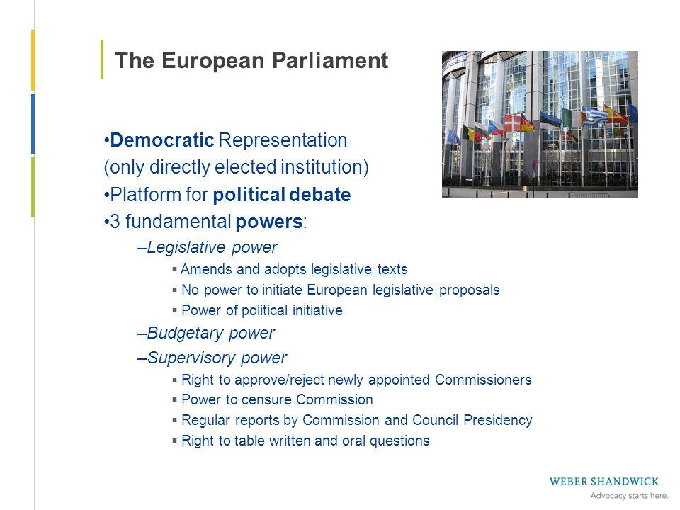 The European Parliament Democratic Representation (only directly elected institution) Platform for political debate 3 fundamental powers: –Legislative
