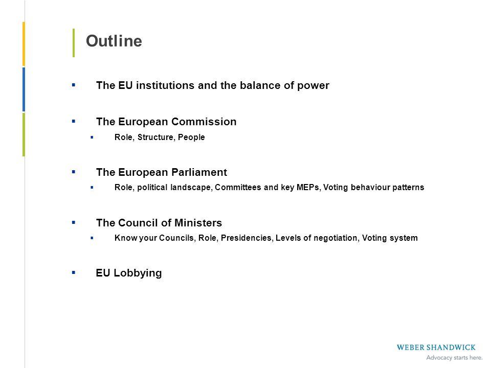 Outline The EU institutions and the balance of power The European Commission Role, Structure, People The European Parliament Role, political landscape
