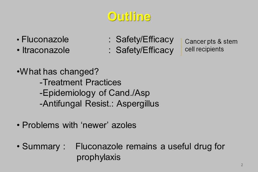 Outline 2 Fluconazole: Safety/Efficacy Itraconazole: Safety/Efficacy What has changed? -Treatment Practices -Epidemiology of Cand./Asp -Antifungal Res