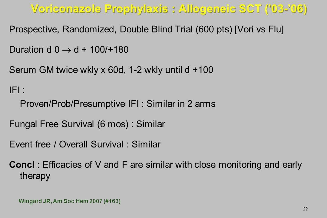 22 Voriconazole Prophylaxis : Allogeneic SCT (03-06) Prospective, Randomized, Double Blind Trial (600 pts) [Vori vs Flu] Duration d 0 d + 100/+180 Ser