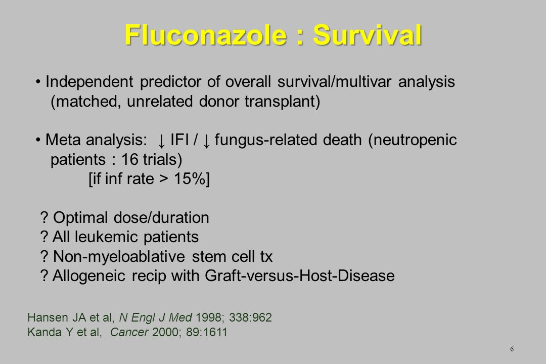 Fluconazole : Survival 6 Independent predictor of overall survival/multivar analysis (matched, unrelated donor transplant) Meta analysis: IFI / fungus