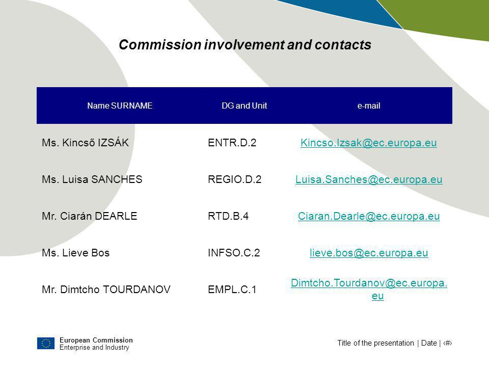 European Commission Enterprise and Industry Title of the presentation | Date | # Commission involvement and contacts Name SURNAMEDG and Unite-mail Ms.