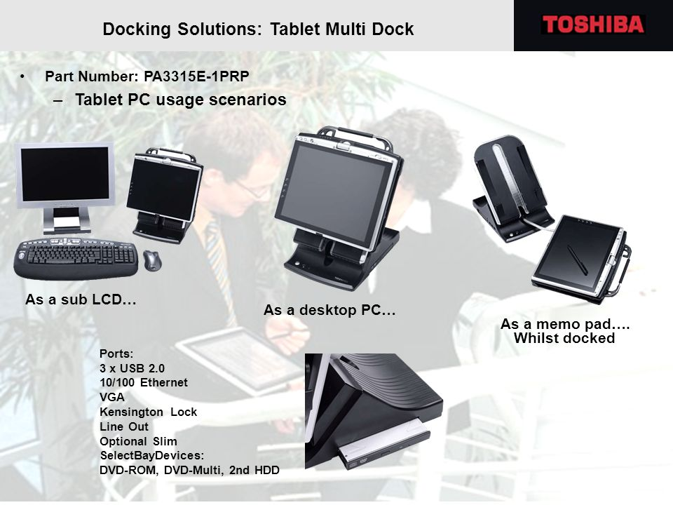 Docking Solutions: Tablet Multi Dock Part Number: PA3315E-1PRP –Tablet PC usage scenarios As a sub LCD… As a desktop PC… As a memo pad…. Whilst docked