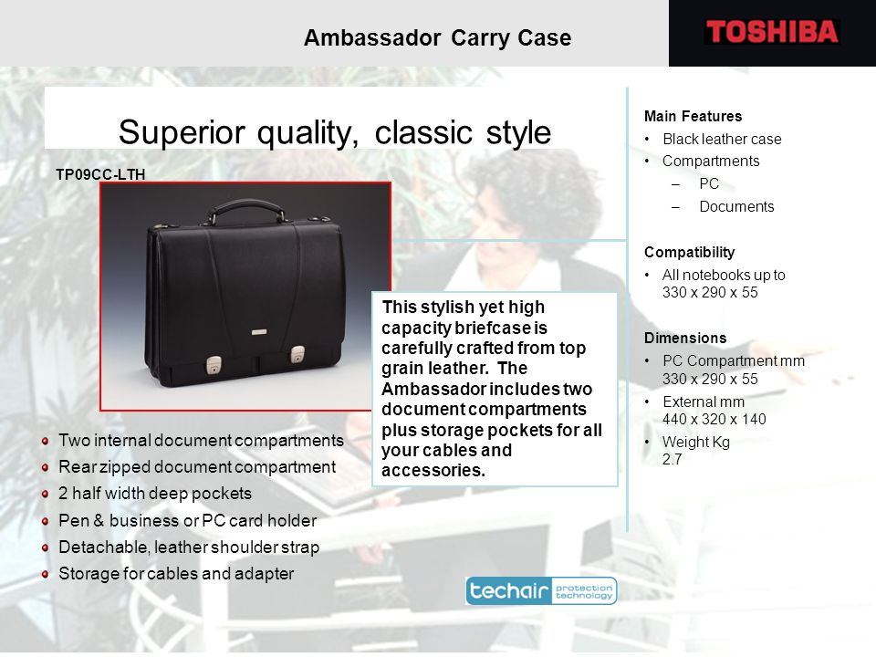 Superior quality, classic style Two internal document compartments Rear zipped document compartment 2 half width deep pockets Pen & business or PC car
