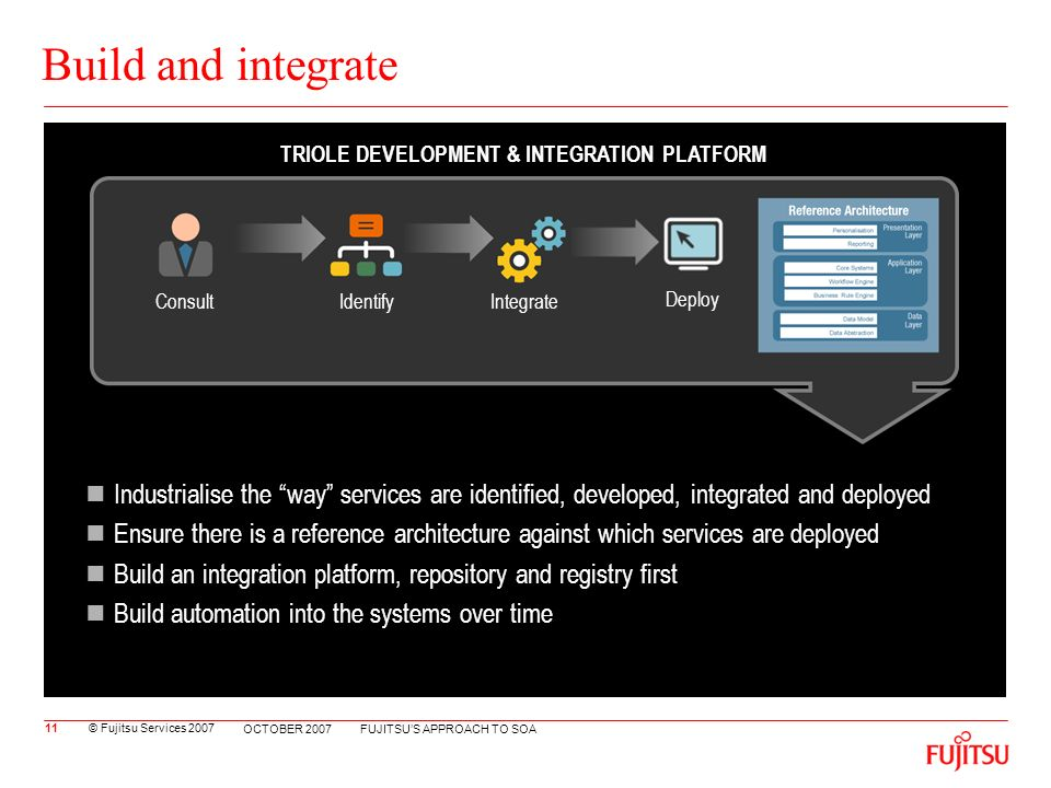 © Fujitsu Services 2007 FUJITSUS APPROACH TO SOA OCTOBER 2007 Build and integrate Industrialise the way services are identified, developed, integrated and deployed Ensure there is a reference architecture against which services are deployed Build an integration platform, repository and registry first Build automation into the systems over time 11 ConsultIdentifyIntegrate Deployment TRIOLE DEVELOPMENT & INTEGRATION PLATFORM Deploy