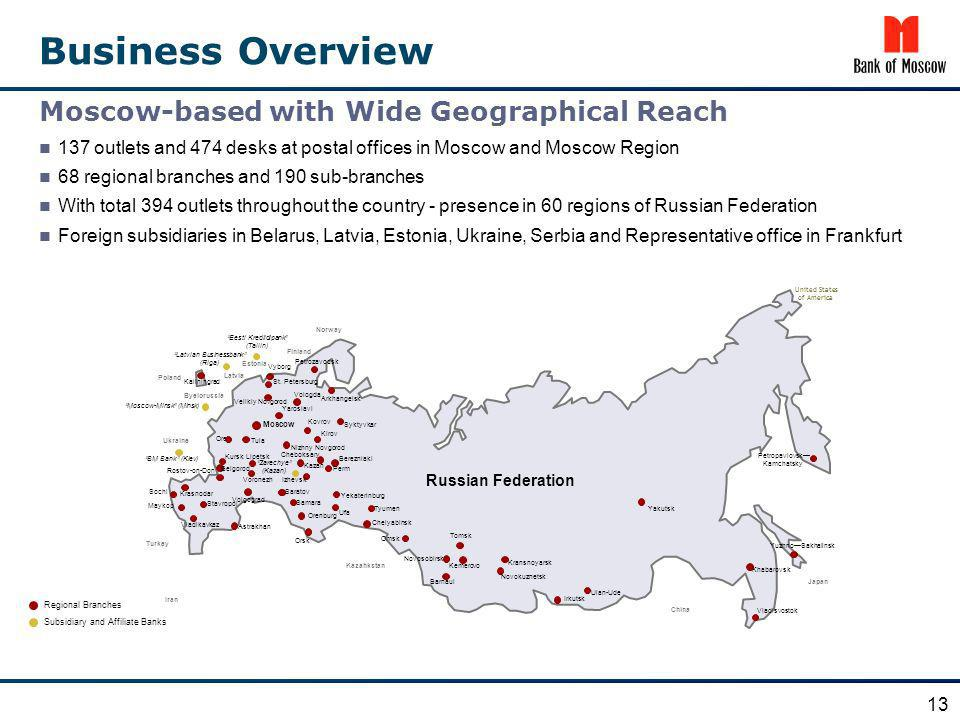 Business Overview 137 outlets and 474 desks at postal offices in Moscow and Moscow Region 68 regional branches and 190 sub-branches With total 394 out