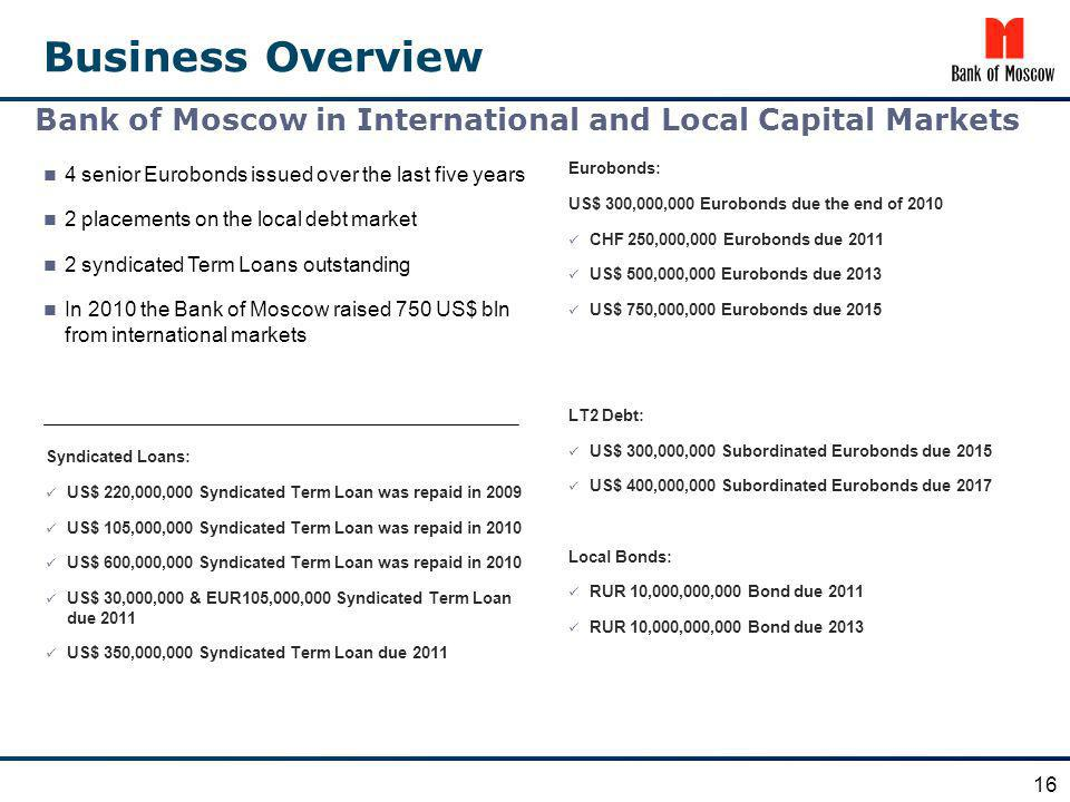 Business Overview Eurobonds: US$ 300,000,000 Eurobonds due the end of 2010 CHF 250,000,000 Eurobonds due 2011 US$ 500,000,000 Eurobonds due 2013 US$ 7