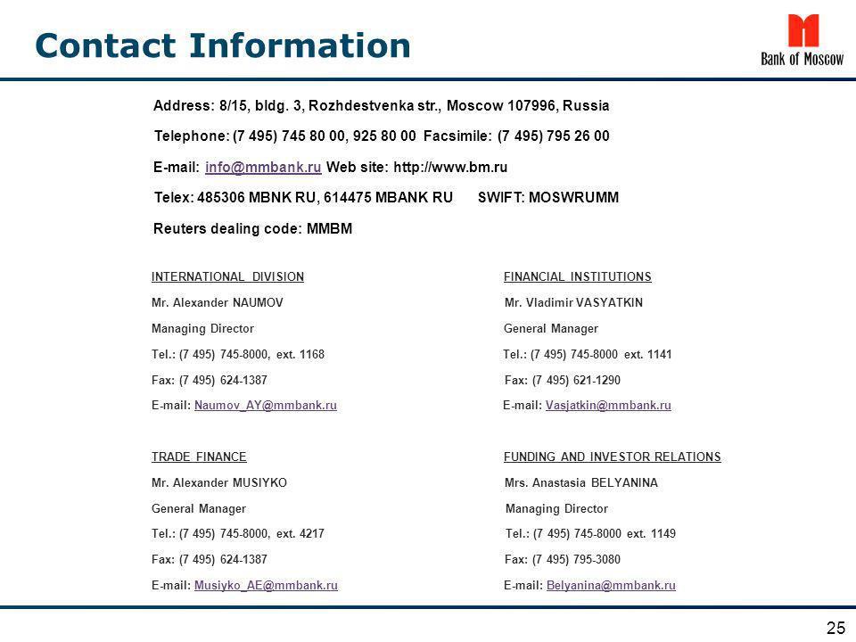 Contact Information Address: 8/15, bldg. 3, Rozhdestvenka str., Moscow 107996, Russia Telephone: (7 495) 745 80 00, 925 80 00 Facsimile: (7 495) 795 2