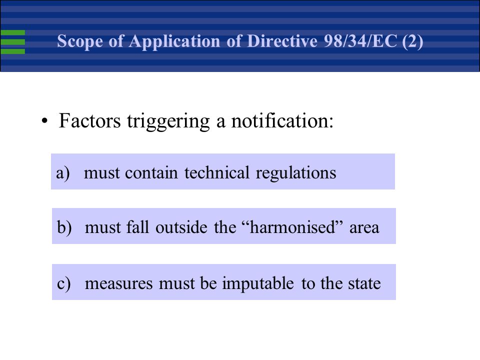 Scope of Application of Directive 98/34/EC (1) The Directive applies to all industrial and agricultural products Directive 98/48/EC extended the notif
