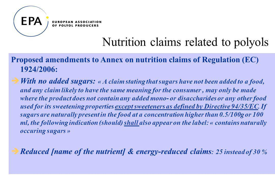 31 Nutrition claims related to polyols Proposed amendments to Annex on nutrition claims of Regulation (EC) 1924/2006: With no added sugars: « A claim stating that sugars have not been added to a food, and any claim likely to have the same meaning for the consumer, may only be made where the product does not contain any added mono- or disaccharides or any other food used for its sweetening properties except sweeteners as defined by Directive 94/35/EC.