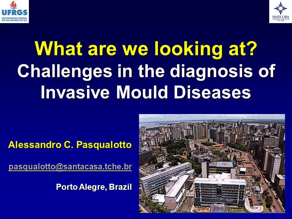 Alessandro C. Pasqualotto pasqualotto@santacasa.tche.br Porto Alegre, Brazil What are we looking at? Challenges in the diagnosis of Invasive Mould Dis