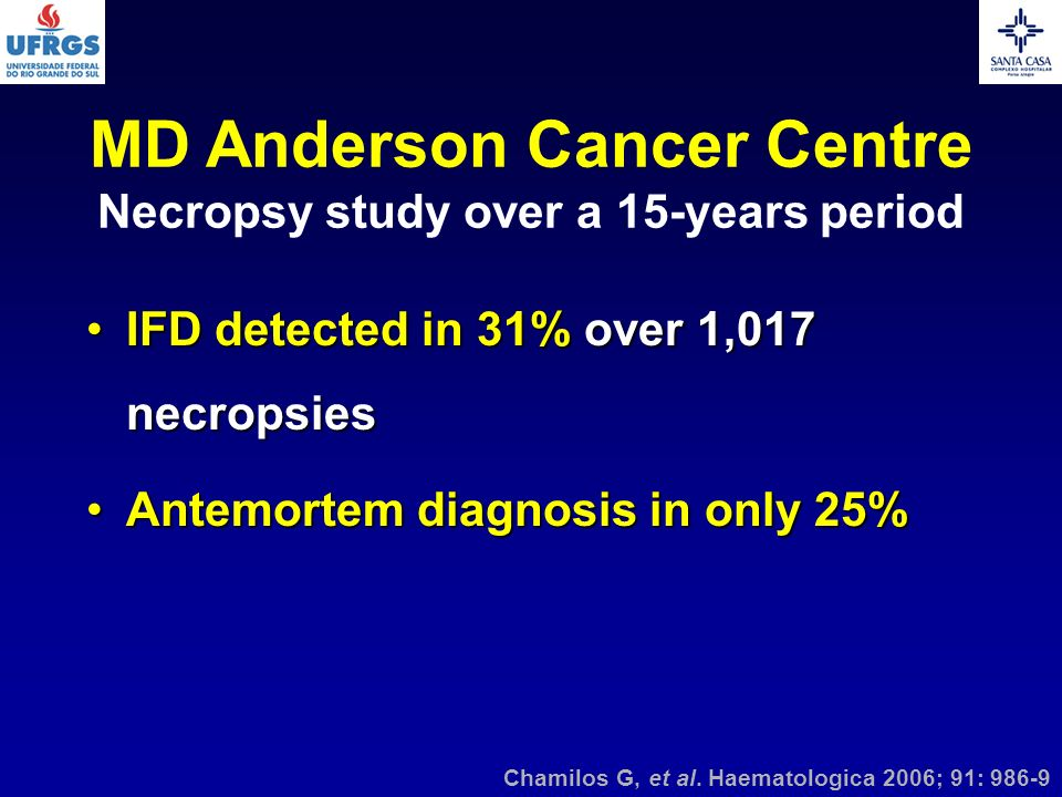 MD Anderson Cancer Centre Necropsy study over a 15-years period IFD detected in 31% over 1,017 necropsiesIFD detected in 31% over 1,017 necropsies Ant
