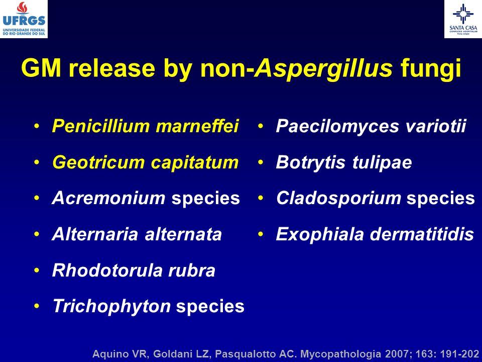 Aquino VR, Goldani LZ, Pasqualotto AC. Mycopathologia 2007; 163: 191-202 Penicillium marneffei Geotricum capitatum Acremonium species Alternaria alter